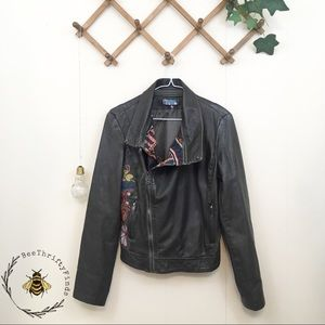 24 Hour Sale Desigual | Embroidered Leather Jacket